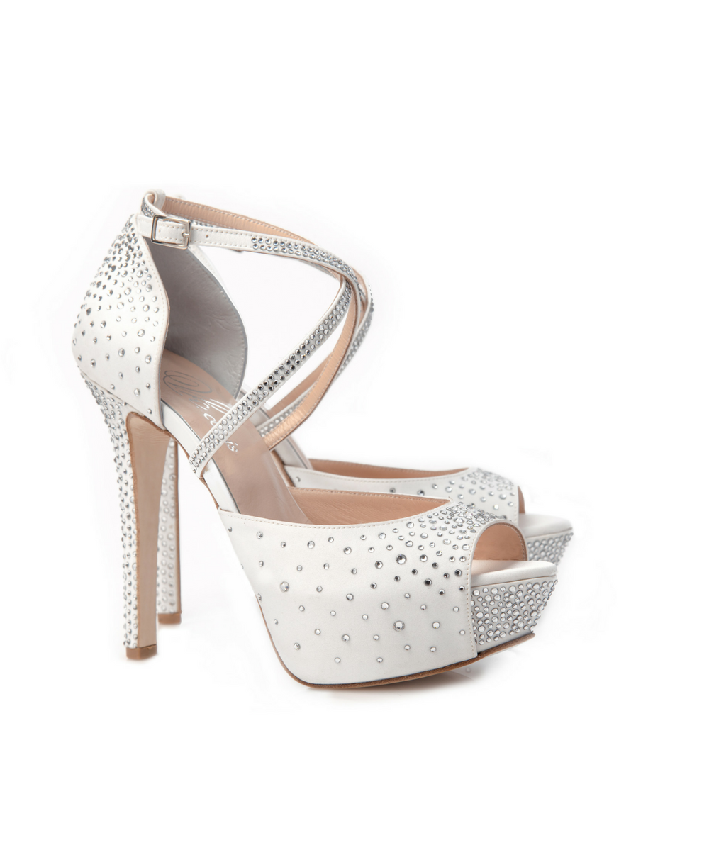 Bridal d'Orsay Ankle Crossed Strap With Swarowski Crystals Mod.2346