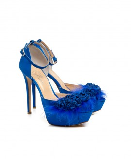Bridal Ankle Strap d'Orsay With Handmade Silk Roses Blue Royal Satin Mod.2346