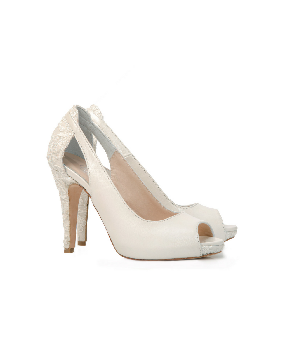 Bridal Peep Toe Mid High With Lace Details Mod.2382