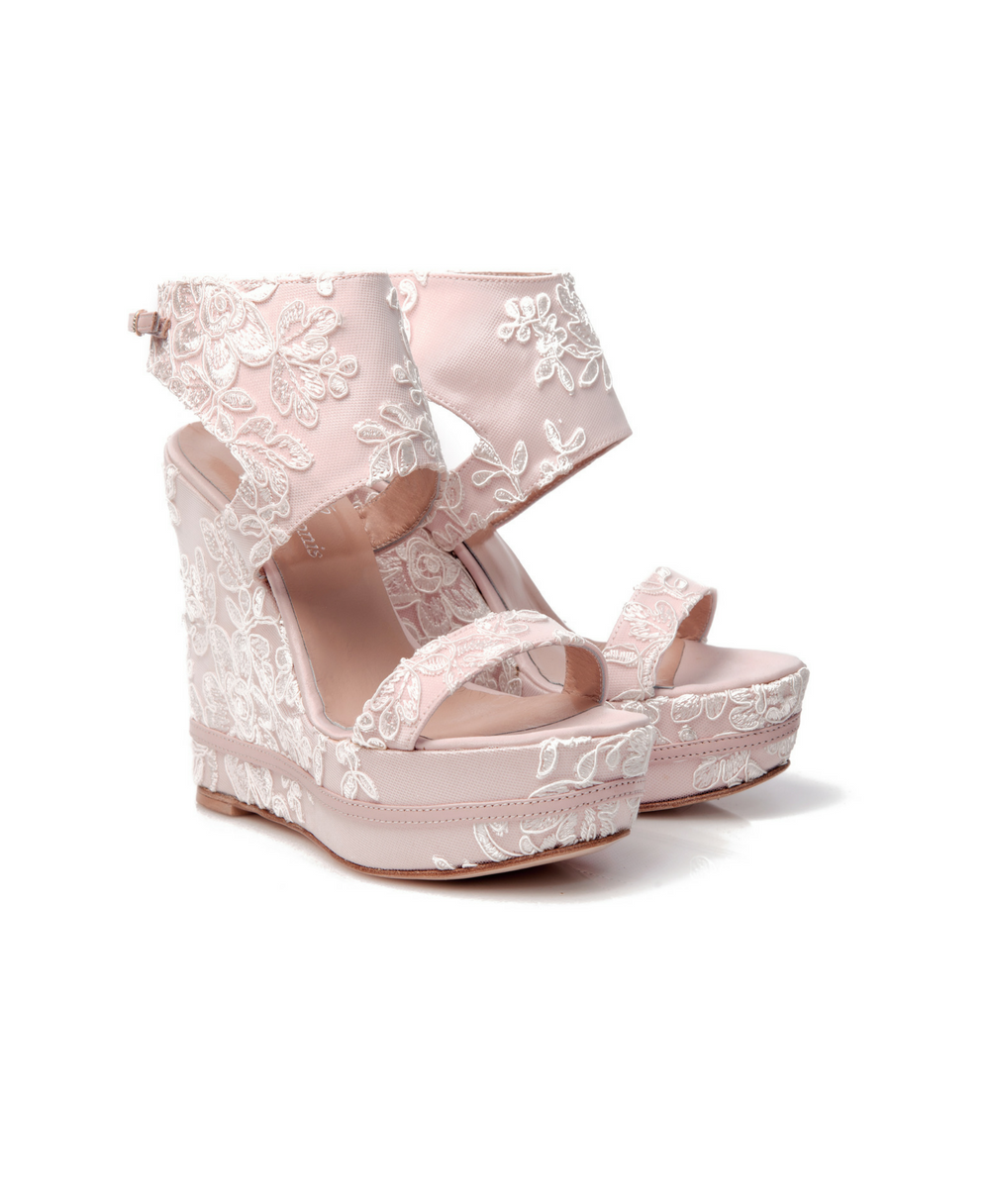 Bridal Wedges Pink Satin With Lace Mod.2438