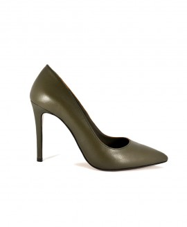 Khaki Leather Pointed Pumps Mod.2398