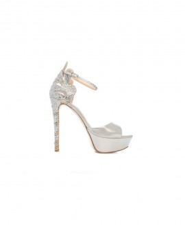 Bridal High Heel Leather Sandals Crystallized With Swarovski Mod.2443