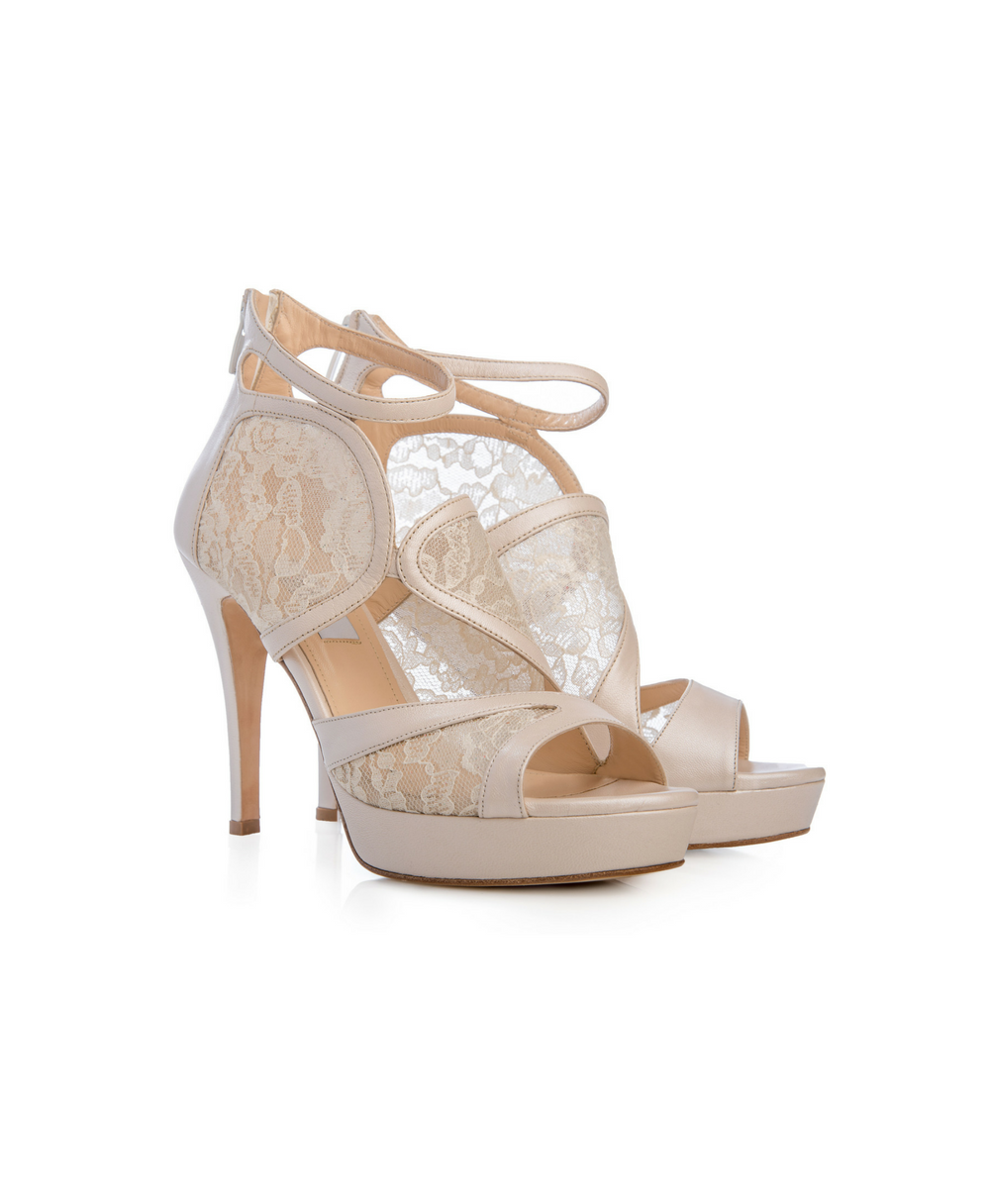 Bridal Ankle Zip Booties With Florale Tulle And Pearl Ivory Leather Mod.2564