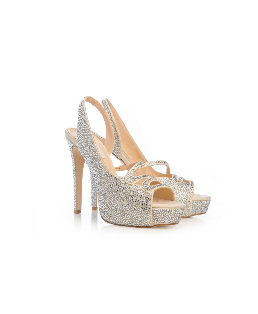 Bridal High Heel Peep Toe Slingbacks Fully Covered With Swarovski Crystalls Mod.2565