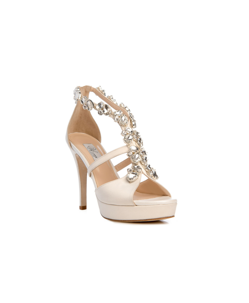 Bridal Ankle Zip Sandals With Satin And Crystals Mod.2568