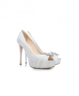 Bridal High Heel Peep Toe Pumps With Satin And Swarovski Handmade Jewels Mod.2597